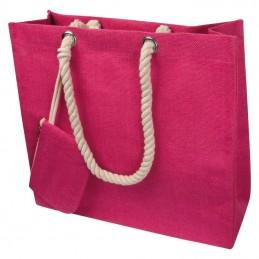 Sacoşă din iuta cu şnur - 6086511, Pink