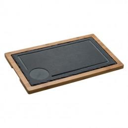Tavă din ardezie/lemn - 8055803, Black